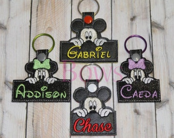 Mice with Name Key Fob Set embroidery design digital instant download