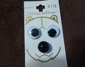Teddy Bear Eyes and Nose Buttons Vintage Set on Streamline Card