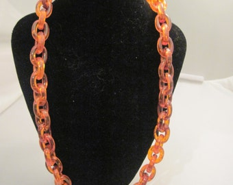 Vintage Brown Lucite Chain Link Necklace