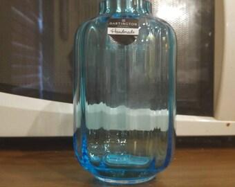 Vintage Dartington Handmade Crystal Light Blue Vase