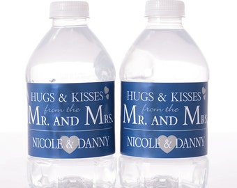 """Wedding Water Labels - 30 Wedding Water Bottle Labels - Need a different quantity? Click on the """"choose total"""" tab to see all pricing"""