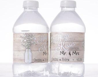 Vintage Wedding Decor - 50 Wedding Water Bottle Labels - Rustic Vintage Water Labels - Vintage Wedding Stickers