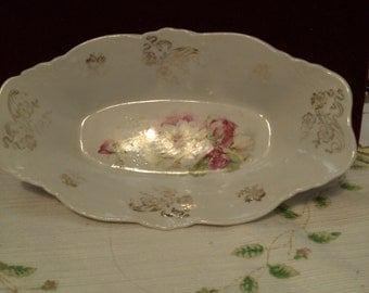 Rose Elongated Serving Bowl, Cranberry Sauce, Please