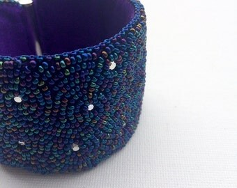 Beaded embroidery bracelet - Midnight sky - fabulous lush statement cuff - swarovski cristals and seed beads - sparkling bracelet