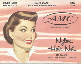 1940s / 1950s Unused Vintage Nylon Hair Net - Regular Size - Beauty Products - New Old Stock - NOS - Hair Care - Mid Century Advertising