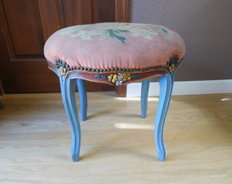 "Vintage Antique UpCycled Carved Stool Vanity Chair Accent Stool French Style Needlepoint 18"" tall"