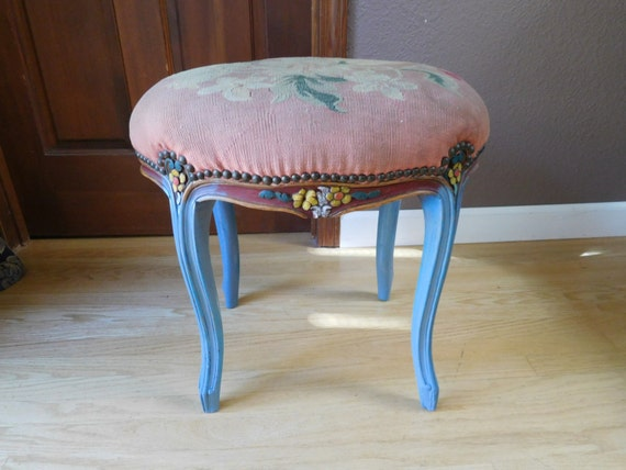 Vintage Antique Upcycled Carved Stool Vanity Chair Accent