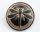 31mm Dragonfly Czech Glass Button, Black and Golden Handmade Button bead, size 14, 1pc - 2611