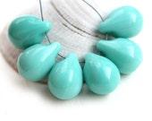 Turquoise Teardrops, Large czech glass drops, Briolettes, green raindrop - 10x14mm - 6Pc - 2530