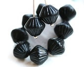 Black bicones, czech Glass beads, jet black beads, large bicone beads, pressed - 11mm - 10pc - 1424