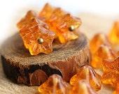 Amber Topaz flower beads, Czech glass, Yellow Honey bell 5 star flower, amber glass beads, floral beads - 6x9mm - 20Pc - 1022