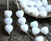 White Heart beads, Czech glass, love, tiny hearts, white glass beads - 6mm - 25pc - 2379