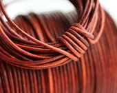 1.5mm Round Leather cord - Cognac Brown - 10 feet, LC057