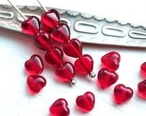 Red Hearts, transparent red glass beads, Czech glass, love, tiny hearts, heart beads - 6mm - 25pc - 2383