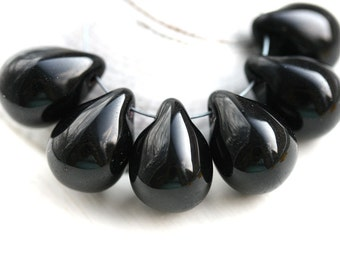 10x14mm Black Briolettes, czech Glass Teardrops, Jet Black pressed drop beads - 6Pc - 0484