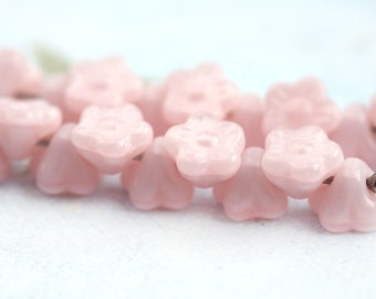 20pc Button style Pink Flower beads, Baby Pink Czech glass floral beads - 7mm - 0530
