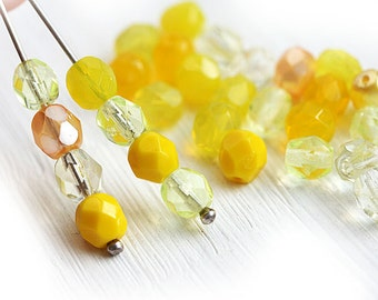 Yellow beads mix, czech glass, fire polished, glass beads, faceted, round spacer beads - 6mm - 30Pc - 0118
