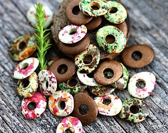 Earthy colored Beads mix, greek Ceramic Cornflake beads, donut, for leather cord, washer, 10mm - 30pc - 1239