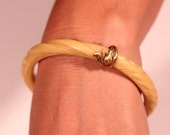 Antique Bakelite Bangle Gold Tone Wrap Snake Ivory Color French Victorian jewelry