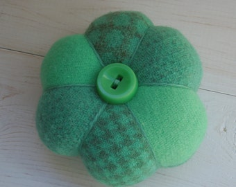 Pincushion - Felted Wool - Green Turquoise - Vintage  Button