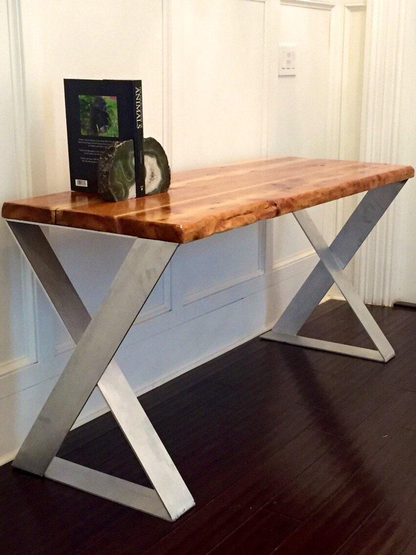 sale wood desk with reclaimed wood top designer aluminum. Black Bedroom Furniture Sets. Home Design Ideas
