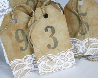 Rustic Number Tags, Rustic Table Numbers, Wedding Table Numbers, Rustic Wedding, Lace Wedding, Lace Table Numbers