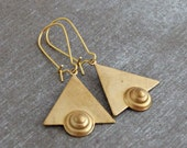 Triangle Earrings .. art deco earrings, geometric earrings, gold earrings, Egyptian