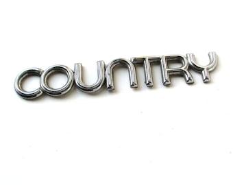 Chrome Country Automobile Emblem, nameplate, custom car, automobile letters
