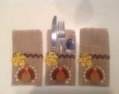 Thanksgiving/Fall Table..Burlap Silverware Holders..Country Home..Ready to Ship..SET OF 6..Country Table..Holiday Table ..Prim Table