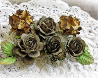 Reneabouquets Roses, Gardenias And Leaves Flower Set-Mulberry Paper Flowers  -Vintage Dark Olive Set Of 12 Pieces In Organza Storage Bag
