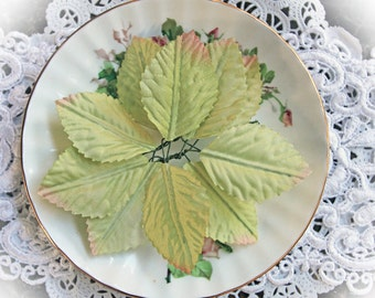 Reneabouquets  Foliage Collection~Light Green Leaves  Scrapbooking DIY Embellishment, Set Of 10