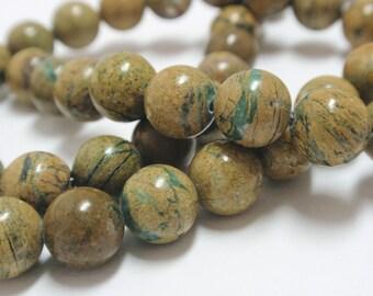 "Green Line Jasper Round Beads, 8mm Green Line Jasper Natural Gemstone Beads, 16"" Strand - 50 Beads"