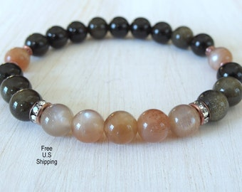 Moonstone bracelet, Peach Moonstone, Gray Moonstone, Mala bracelet, yoga, Reiki, Energy bracelet, healing bracelet, spirituality, Mala