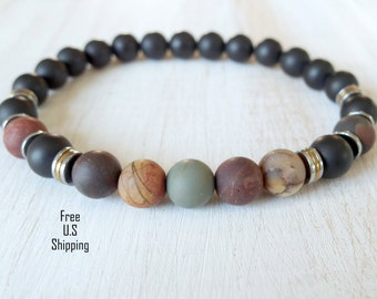 Men's Bracelet, Picasso Jasper, Onyx bracelet, Healing bracelet, tribal bracelet, Reiki bracelet, Men jewelry, wrist mala, healing jewelry