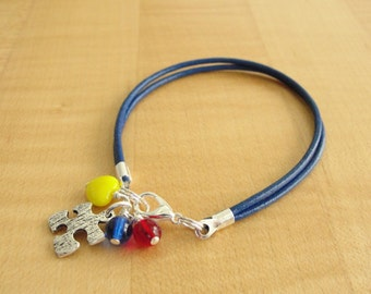 Autism Awareness Bracelet (Leather) - Aspergers Syndrome Awareness