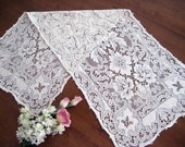 RESERVED! Vintage Lace Table Runner - Picots - Scalloped Edges - Cotton