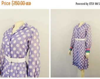 CLOTHING SALE Vintage Dress 50s 60s Mad Men Style Midge Grand Polka Dot Dress Lavender White Pink Green Long Sleeve Dress 12 Modern Medium t