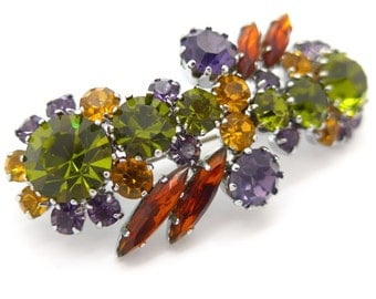 Vintage 1960s Purple Orange Green Rhinestone Paste Brooch