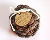 SHOP CLOSING SALE Flower Face Scrubby Set . Set of 3 . Crochet . 100 Percent Cotton . Brown