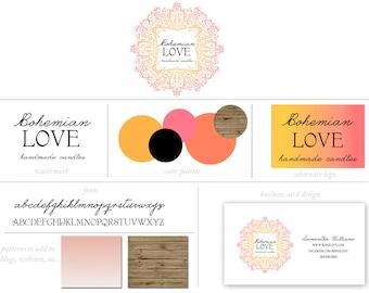 Custom Branding Package Premade Logo with Watermark Hand Drawn Bohemian Ombre Frame Marketing Kit Logo / Watermark / Business Card