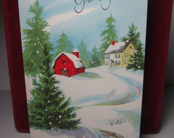 Colorful 1950's-60's Sangamon christmas card red barn and house in country covered in snow