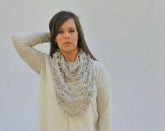 Crochet shawl triangle scarf neckwarmer / Dunfermline Scarf - Linen