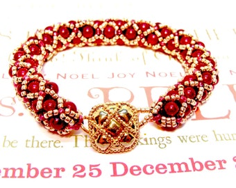 Handmade Beaded Cranberry and Soft Gold Netted Bracelet