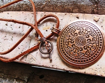 For the Guys - Antique Copper Medallion Pendant/Necklace with Brown Suede Necklace