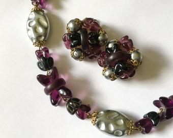 Vintage 1950s Glass Bead Demi Parure West Germany Purple Silver Gray Earrings and Choker Set