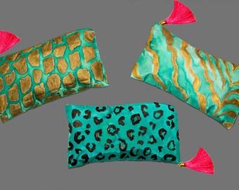 animal skin silk cosmetic bags - set of three