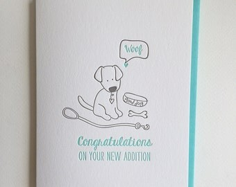 New Puppy letterpress card, Congrats on your New Dog card - New Addition Card - Dog Adoption card