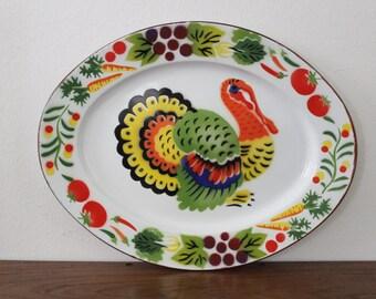 Delightful Vintage Oval Enamel Turkey Colorful Vegetable Platter Serving Tray