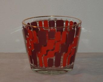 Retro Mod Glass Ice Bucket -- red orange and purple!