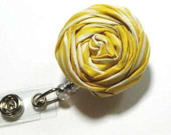yellow badge reel Nurse Badge Reel fabric flower badge holder Rosette Name Badge Reel Nurse Retractable badge holder swivel badge reel
